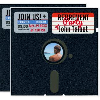 El fiesta de retiro del disco blando 5,25 retros invitación 13,3 cm x 13,3cm