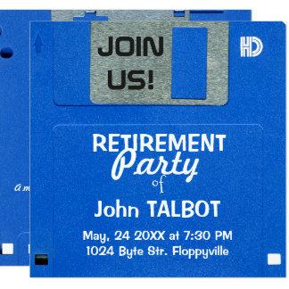 El fiesta de retiro del disco blando retro de invitación 13,3 cm x 13,3cm