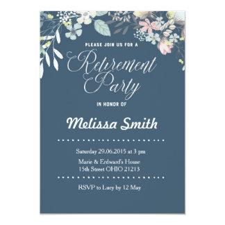El fiesta de retiro floral de los azules marinos invitación 12,7 x 17,8 cm