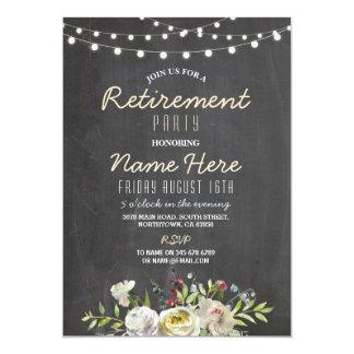 El fiesta de retiro floral del rosa blanco invita invitación 12,7 x 17,8 cm