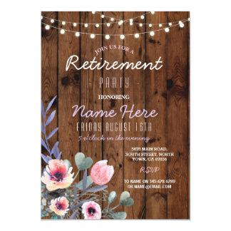 El fiesta de retiro floral enciende el rosa de invitación 12,7 x 17,8 cm