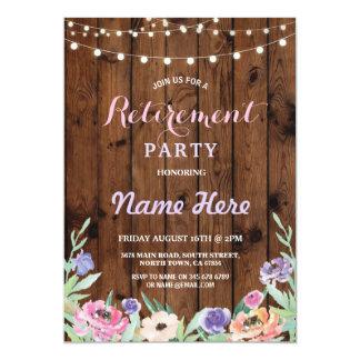 El fiesta de retiro floral enciende la madera del invitación 12,7 x 17,8 cm