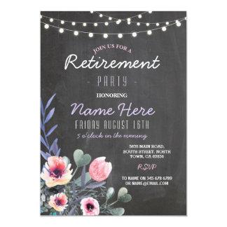 El fiesta de retiro floral enciende la pizarra invitación 12,7 x 17,8 cm