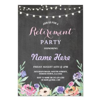 El fiesta de retiro floral enciende tiza del invitación 12,7 x 17,8 cm