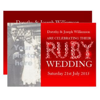 El fiesta de rubíes de la foto de las piedras de invitación 11,4 x 15,8 cm