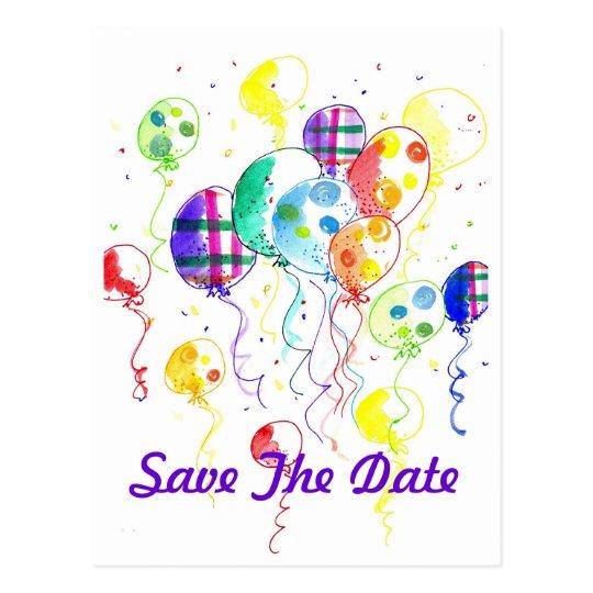 El fiesta del arco iris de los globos celebra postal
