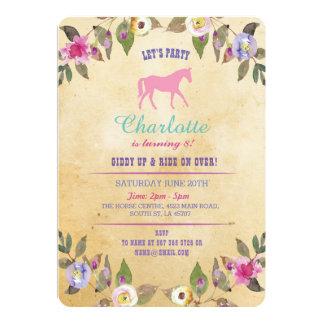 El fiesta del caballo floral invita a la invitación 12,7 x 17,8 cm