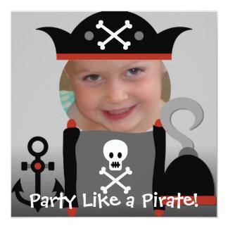 El fiesta del chica de los piratas como un invitación 13,3 cm x 13,3cm