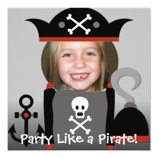 El fiesta del chica de los piratas como un pirata invitación 13,3 cm x 13,3cm