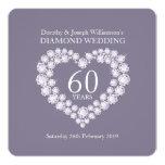 El fiesta del corazón 60 de los diamantes del boda invitación 13,3 cm x 13,3cm
