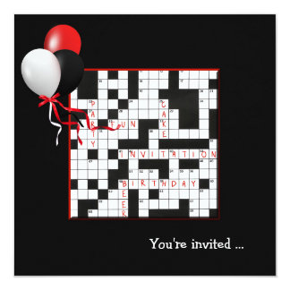 El fiesta del crucigrama invita invitación 13,3 cm x 13,3cm