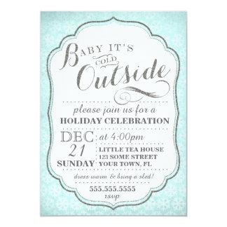 El fiesta del invierno invita a los copos de nieve invitación 12,7 x 17,8 cm