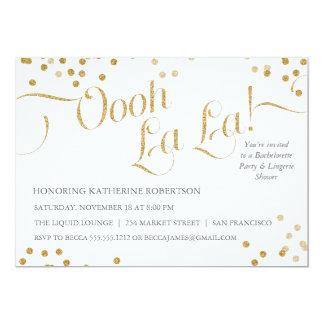 El fiesta del La del La de Oooh del confeti invita Invitación 12,7 X 17,8 Cm