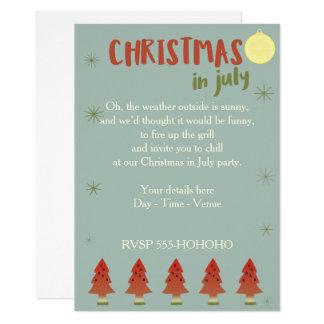 El fiesta del navidad de los árboles de la sandía invitación 12,7 x 17,8 cm