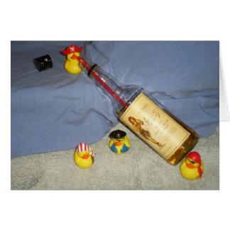 ¡El fiesta del pato del pirata invita! Tarjeta De Felicitación