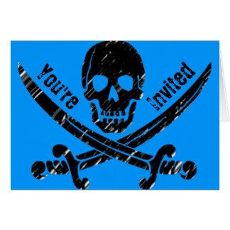 El fiesta del pirata invita tarjeta de felicitación
