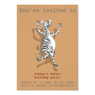 El fiesta del safari de la cebra invita invitación 12,7 x 17,8 cm