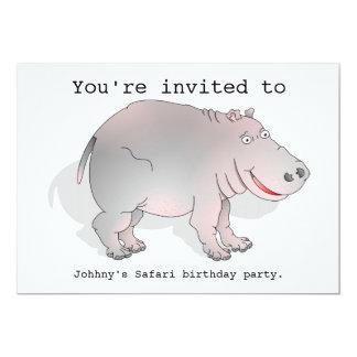 El fiesta del safari del hipopótamo invita comunicados personalizados