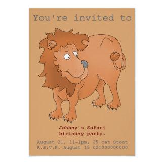 El fiesta del safari del león invita invitación 12,7 x 17,8 cm