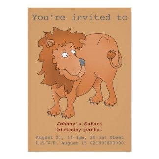 El fiesta del safari del león invita anuncios
