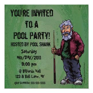 El fiesta del tiburón de la piscina invita invitación 13,3 cm x 13,3cm