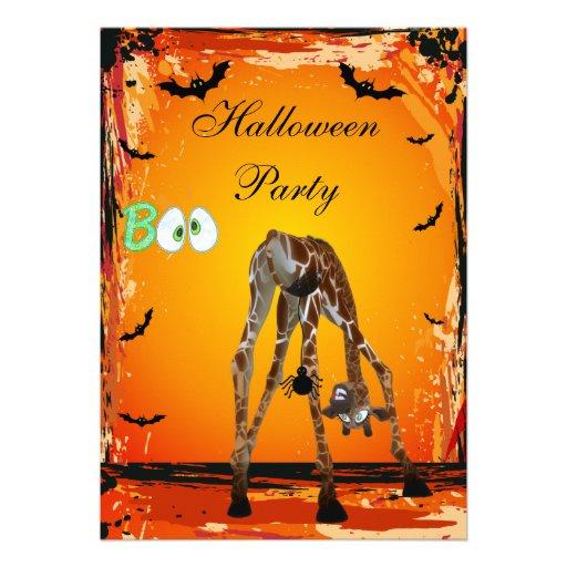 El fiesta divertido de Halloween de la jirafa y de Invitaciones Personalizada