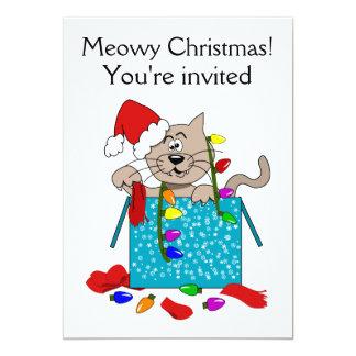 El fiesta divertido del gato del dibujo animado invitación 12,7 x 17,8 cm