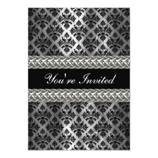 El fiesta elegante de los gris plateados del negro invitación 12,7 x 17,8 cm