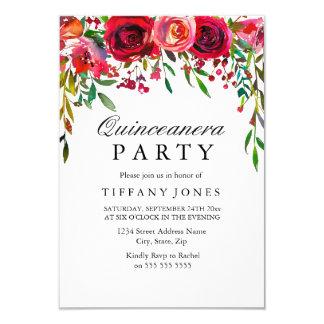 El fiesta elegante de Quinceanera de la flor del Invitación 8,9 X 12,7 Cm