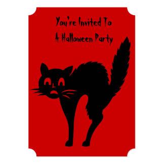 el fiesta enojado divertido de Halloween del gato Invitación 12,7 X 17,8 Cm