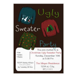 El fiesta feo del suéter del navidad invita invitacion personalizada