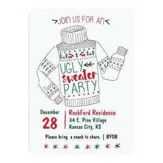 El fiesta feo del suéter invita invitación 12,7 x 17,8 cm