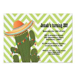 El fiesta mexicano del sombrero del cactus de la invitación 12,7 x 17,8 cm