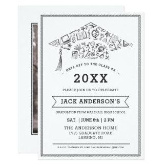 El fiesta negro y blanco del casquillo de la invitación 11,4 x 15,8 cm