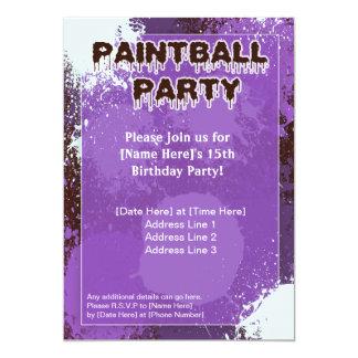 El fiesta púrpura de Paintball invita Invitación 12,7 X 17,8 Cm