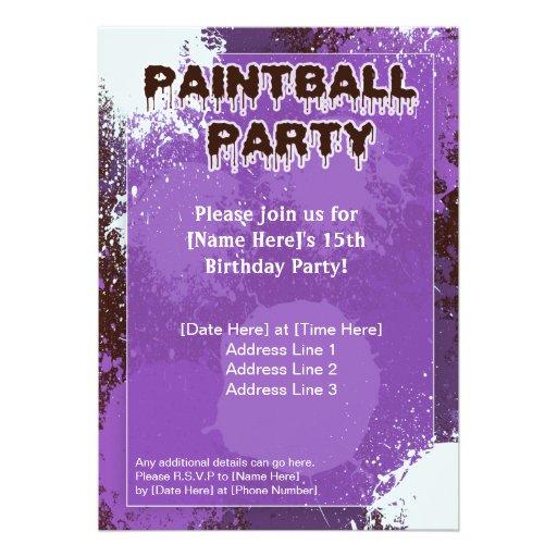 El fiesta púrpura de Paintball invita Comunicado Personalizado