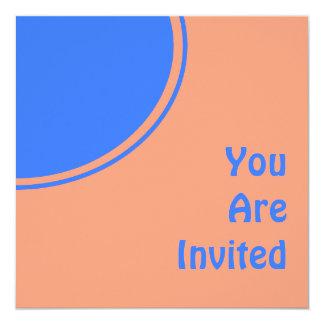 El fiesta retro anaranjado claro azul brillante invitación 13,3 cm x 13,3cm