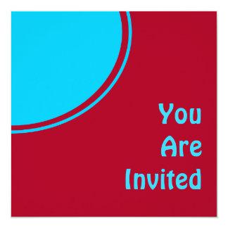 El fiesta retro de la turquesa roja colorida invitaciones personalizada