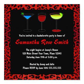 El fiesta rojo de Bachelorette del estampado de Invitación 13,3 Cm X 13,3cm