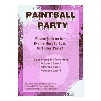 El fiesta rosado de Paintball invita Invitación 12,7 X 17,8 Cm