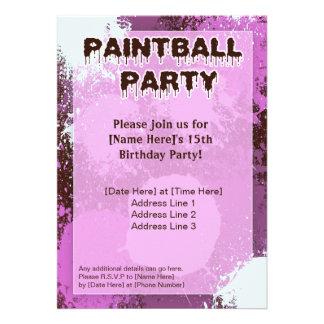 El fiesta rosado de Paintball invita Comunicado Personalizado