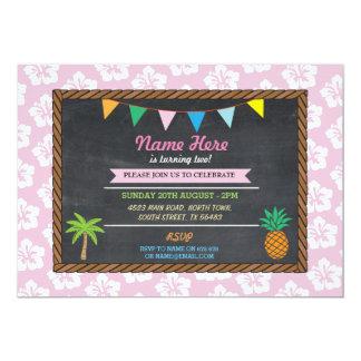 El fiesta rosado tropical Tiki de la hawaiana del Invitación 12,7 X 17,8 Cm