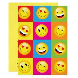 El fiesta Smilie de Emoji hace frente a noche Invitación 12,7 X 17,8 Cm