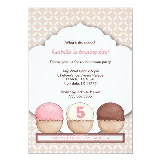 El fiesta social del helado invita con edad invitación 12,7 x 17,8 cm