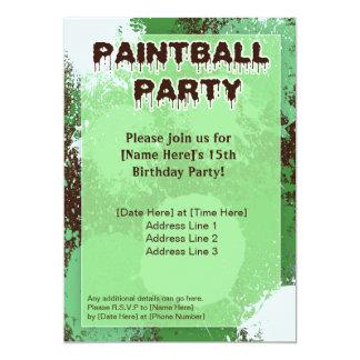 El fiesta verde de Paintball invita Invitación 12,7 X 17,8 Cm