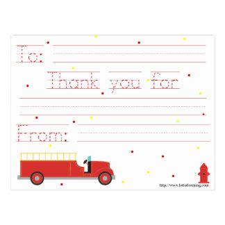 El Firetruck le agradece observar (con el mensaje Postal
