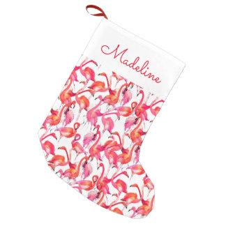 El flamenco de la acuarela en acuarelas el | añade calcetín navideño pequeño