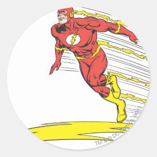 El flash salta a la izquierda pegatina redonda