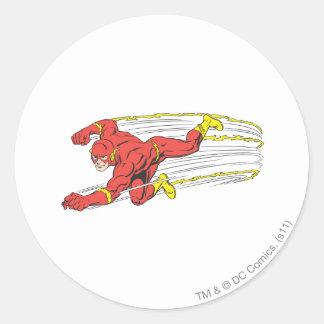 El flash se lanza a la izquierda pegatina redonda
