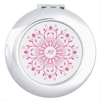 El | FLORAL blanco y rosado con el monograma Espejo Para El Bolso